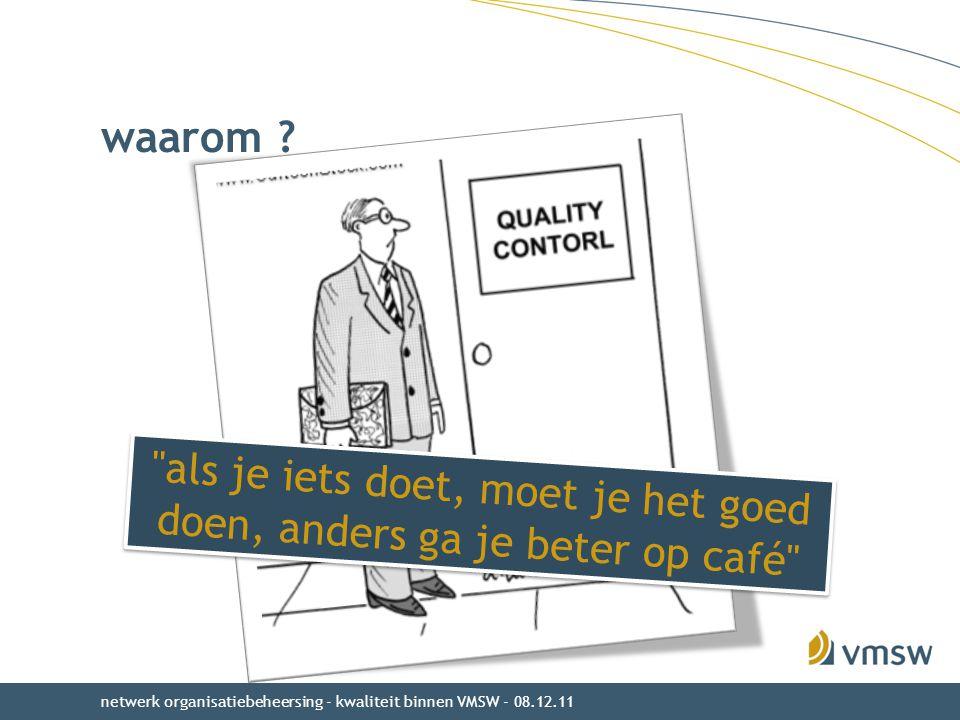 waarom ? netwerk organisatiebeheersing - kwaliteit binnen VMSW - 08.12.11