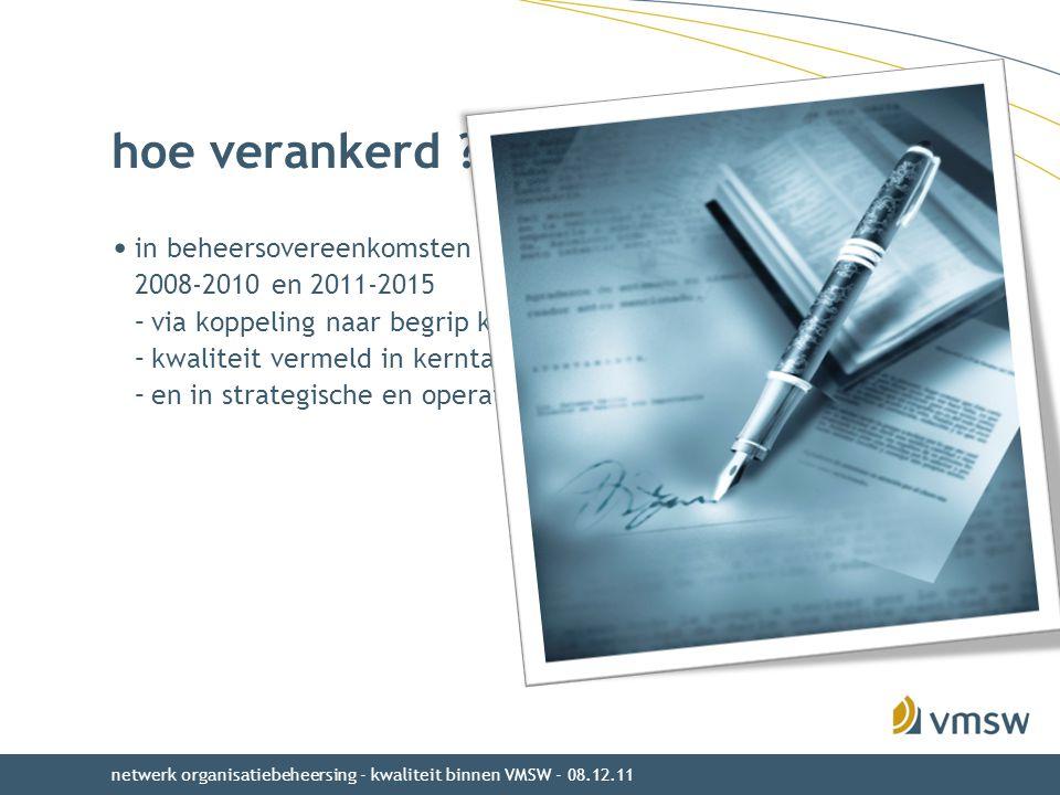 hoe verankerd ? in beheersovereenkomsten 2008-2010 en 2011-2015 –via koppeling naar begrip kwaliteit uit beleidsnota Wonen –kwaliteit vermeld in kernt