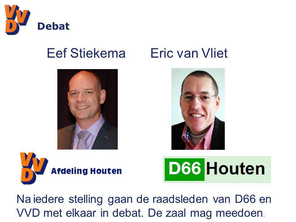 Debat Eef Stiekema Eric van Vliet Na iedere stelling gaan de raadsleden van D66 en VVD met elkaar in debat. De zaal mag meedoen.