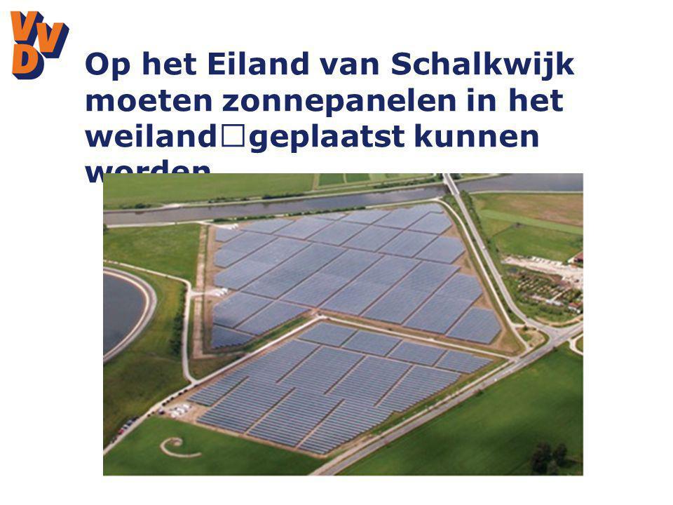 Op het Eiland van Schalkwijk moeten zonnepanelen in het weiland geplaatst kunnen worden