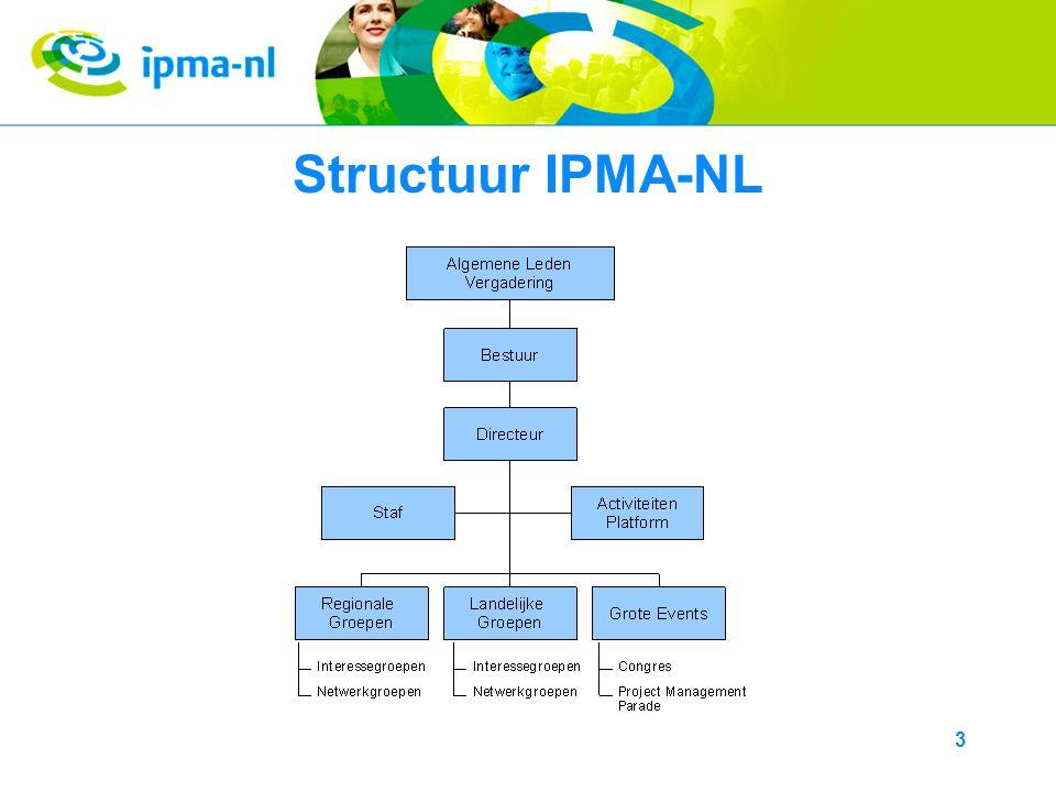4 Doelstelling AP ●Het AP is de spin in het web van IPMA-NL.