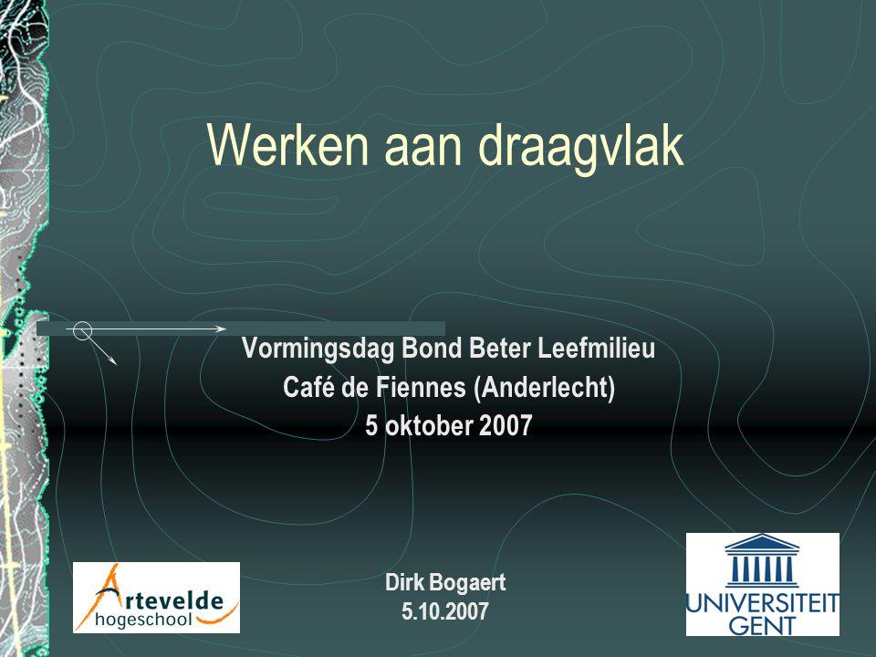 Werken aan draagvlak Vormingsdag Bond Beter Leefmilieu Café de Fiennes (Anderlecht) 5 oktober 2007 Dirk Bogaert 5.10.2007
