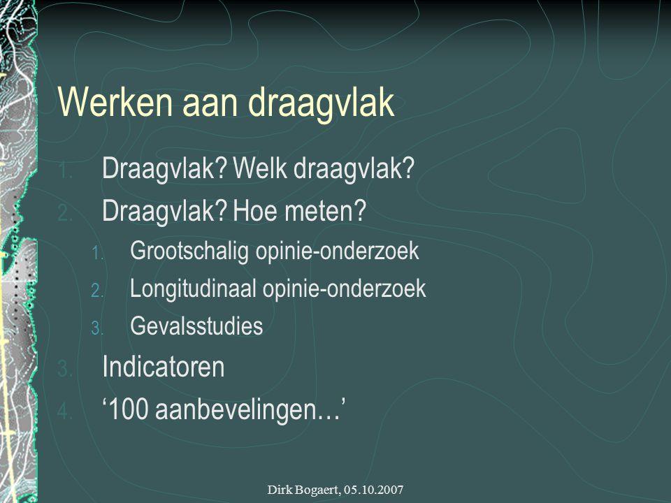 Dirk Bogaert, 05.10.2007 1.Draagvlak . Welk draagvlak.