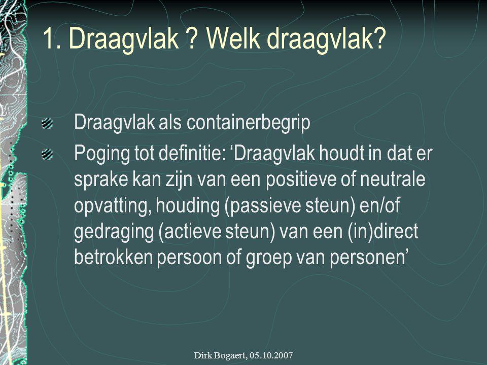 Dirk Bogaert, 05.10.2007 1. Draagvlak . Welk draagvlak.