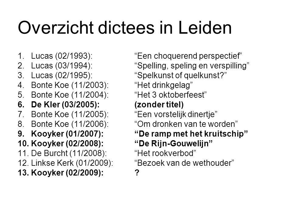 """Overzicht dictees in Leiden 1. Lucas (02/1993):""""Een choquerend perspectief"""" 2. Lucas (03/1994):""""Spelling, speling en verspilling"""" 3. Lucas (02/1995):"""""""