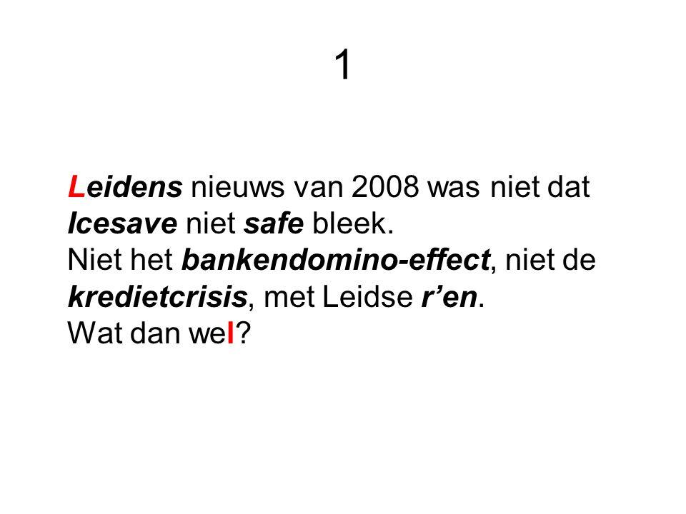 1 Leidens nieuws van 2008 was niet dat Icesave niet safe bleek. Niet het bankendomino-effect, niet de kredietcrisis, met Leidse r'en. Wat dan wel?