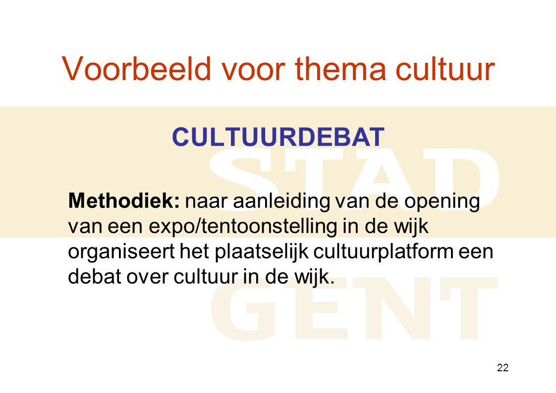 22 Voorbeeld voor thema cultuur CULTUURDEBAT Methodiek: naar aanleiding van de opening van een expo/tentoonstelling in de wijk organiseert het plaatselijk cultuurplatform een debat over cultuur in de wijk.