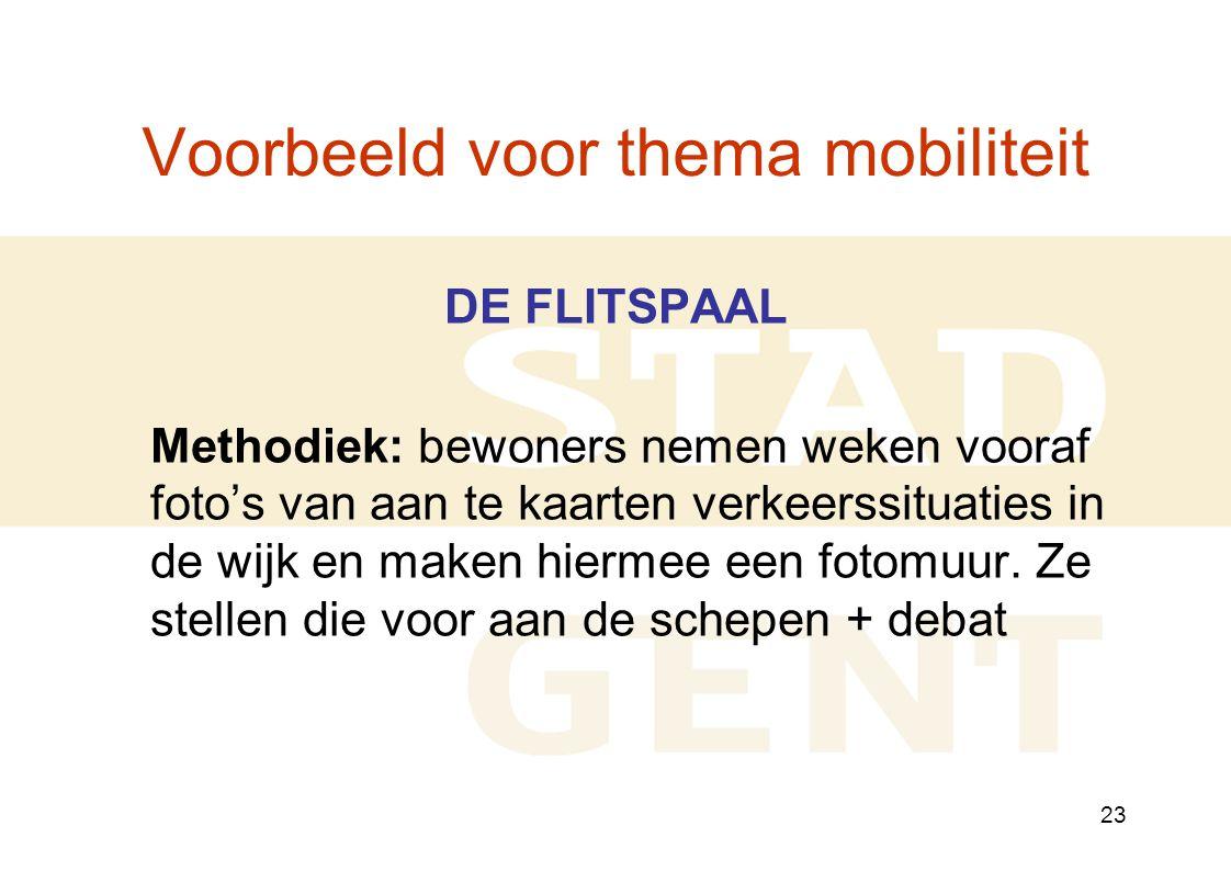 23 Voorbeeld voor thema mobiliteit DE FLITSPAAL Methodiek: bewoners nemen weken vooraf foto's van aan te kaarten verkeerssituaties in de wijk en maken hiermee een fotomuur.