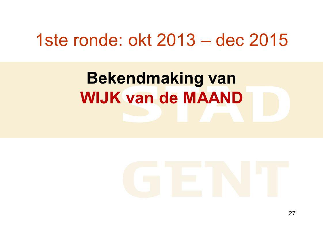 27 1ste ronde: okt 2013 – dec 2015 Bekendmaking van WIJK van de MAAND