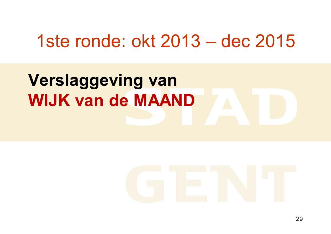 29 1ste ronde: okt 2013 – dec 2015 Verslaggeving van WIJK van de MAAND