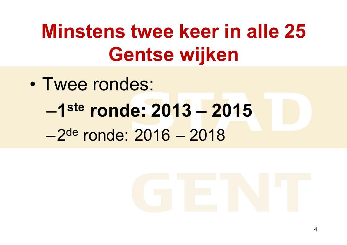 4 Minstens twee keer in alle 25 Gentse wijken Twee rondes: –1 ste ronde: 2013 – 2015 –2 de ronde: 2016 – 2018