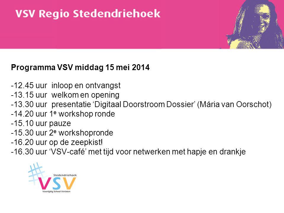 Programma VSV middag 15 mei 2014 -12.45 uur inloop en ontvangst -13.15 uur welkom en opening -13.30 uur presentatie 'Digitaal Doorstroom Dossier' (Már
