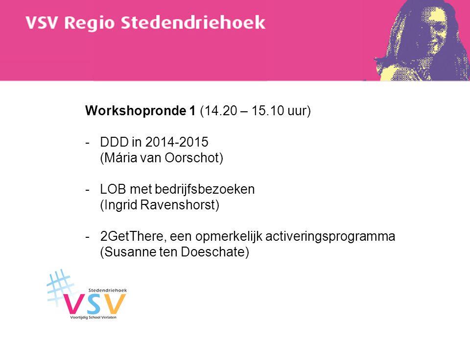 Workshopronde 1 (14.20 – 15.10 uur) -DDD in 2014-2015 (Mária van Oorschot) -LOB met bedrijfsbezoeken (Ingrid Ravenshorst) - 2GetThere, een opmerkelijk