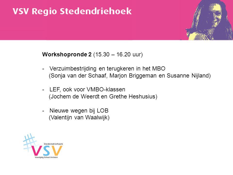 Workshopronde 2 (15.30 – 16.20 uur) -Verzuimbestrijding en terugkeren in het MBO (Sonja van der Schaaf, Marjon Briggeman en Susanne Nijland) -LEF, ook