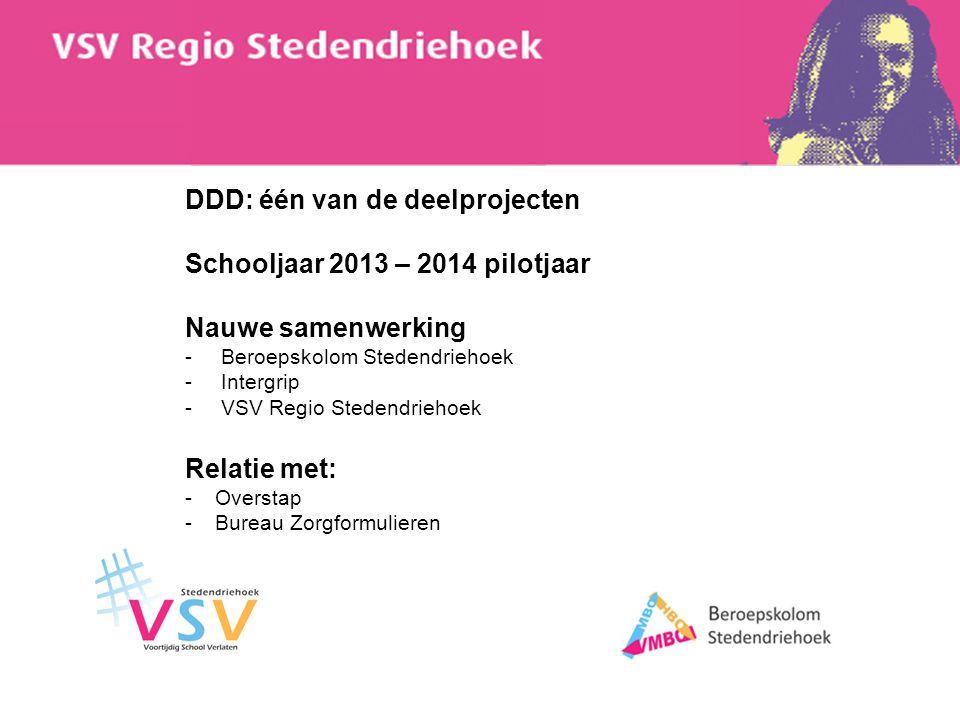 DDD: één van de deelprojecten Schooljaar 2013 – 2014 pilotjaar Nauwe samenwerking -Beroepskolom Stedendriehoek -Intergrip -VSV Regio Stedendriehoek Re