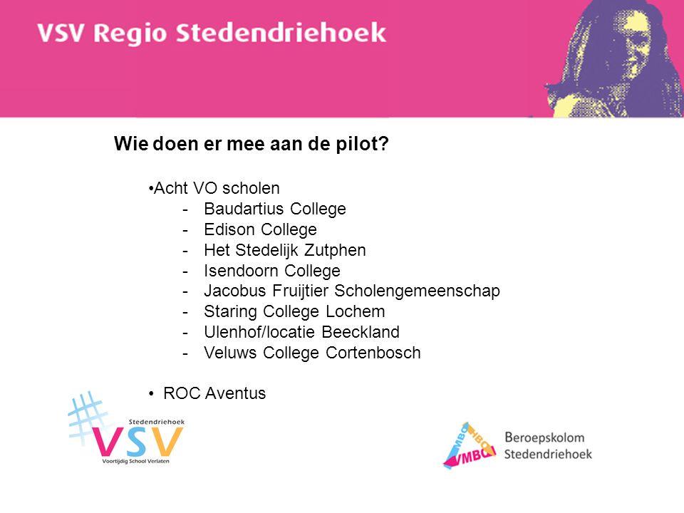 Wie doen er mee aan de pilot? Acht VO scholen -Baudartius College -Edison College -Het Stedelijk Zutphen -Isendoorn College -Jacobus Fruijtier Scholen