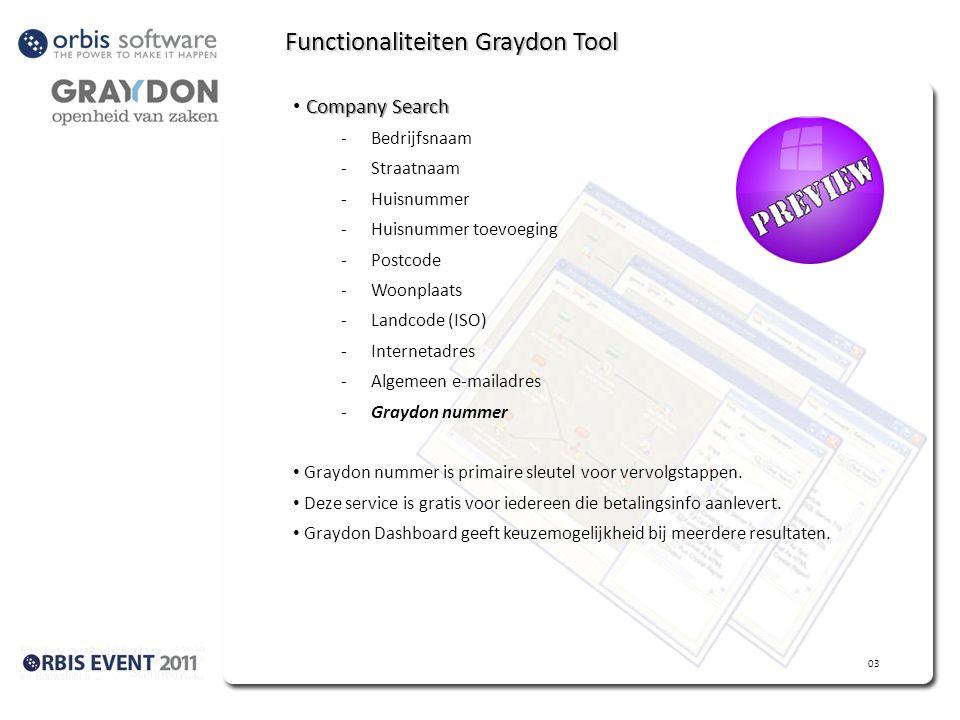 Functionaliteiten Graydon Tool Company Search -Bedrijfsnaam -Straatnaam -Huisnummer -Huisnummer toevoeging -Postcode -Woonplaats -Landcode (ISO) -Internetadres -Algemeen e-mailadres -Graydon nummer Graydon nummer is primaire sleutel voor vervolgstappen.