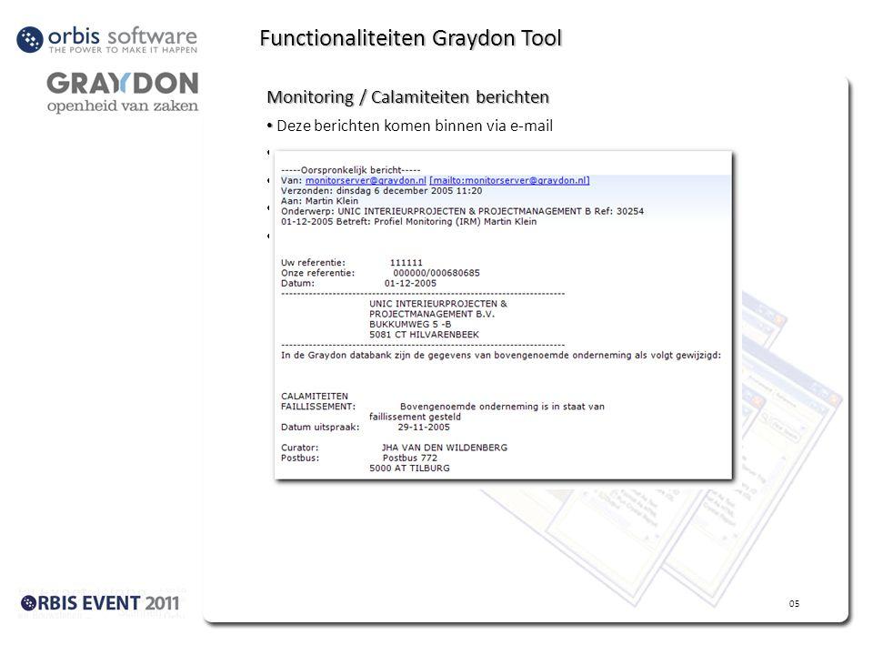 Functionaliteiten Graydon Tool Monitoring / Calamiteiten berichten Deze berichten komen binnen via e-mail Orbis taak vangt berichten op (SMTP) Graydon Tool interpreteert bericht Graydon Tool plaats bericht in Graydon Dashboard Gebruiker kan kiezen wat te doen – start Orbis Taak 05