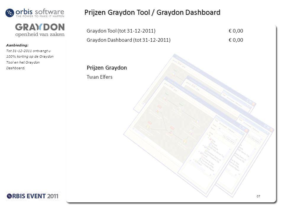Aanbieding: Tot 31-12-2011 ontvangt u 100% korting op de Graydon Tool en het Graydon Dashboard.