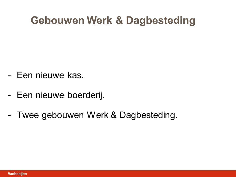 Gebouwen Werk & Dagbesteding -Een nieuwe kas. -Een nieuwe boerderij. -Twee gebouwen Werk & Dagbesteding.