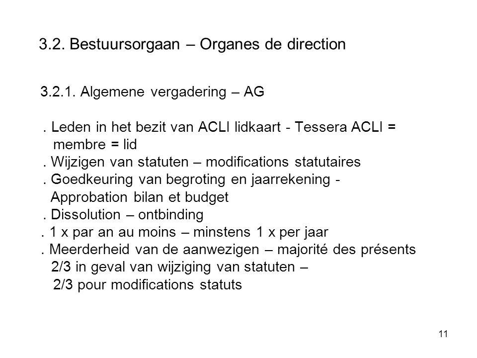 11 3.2. Bestuursorgaan – Organes de direction 3.2.1. Algemene vergadering – AG. Leden in het bezit van ACLI lidkaart - Tessera ACLI = membre = lid. Wi