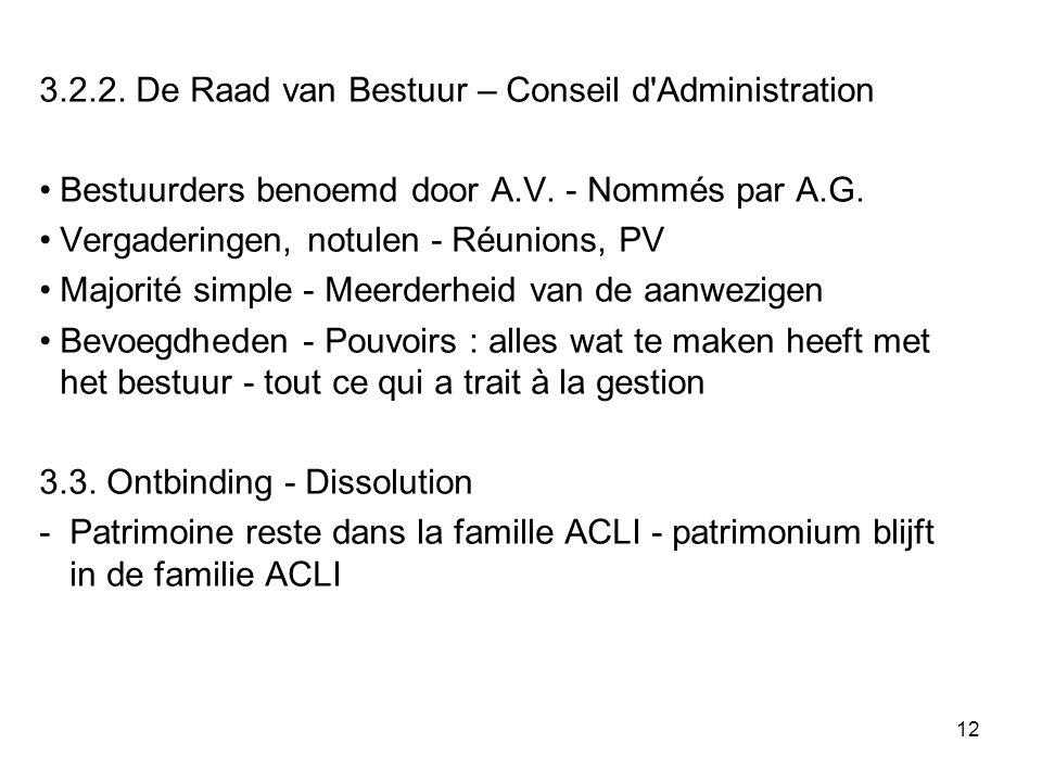 12 3.2.2. De Raad van Bestuur – Conseil d'Administration Bestuurders benoemd door A.V. - Nommés par A.G. Vergaderingen, notulen - Réunions, PV Majorit