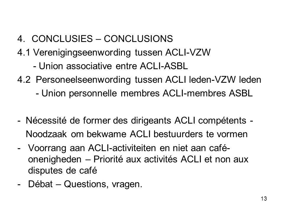 13 4.CONCLUSIES – CONCLUSIONS 4.1 Verenigingseenwording tussen ACLI-VZW - Union associative entre ACLI-ASBL 4.2 Personeelseenwording tussen ACLI leden