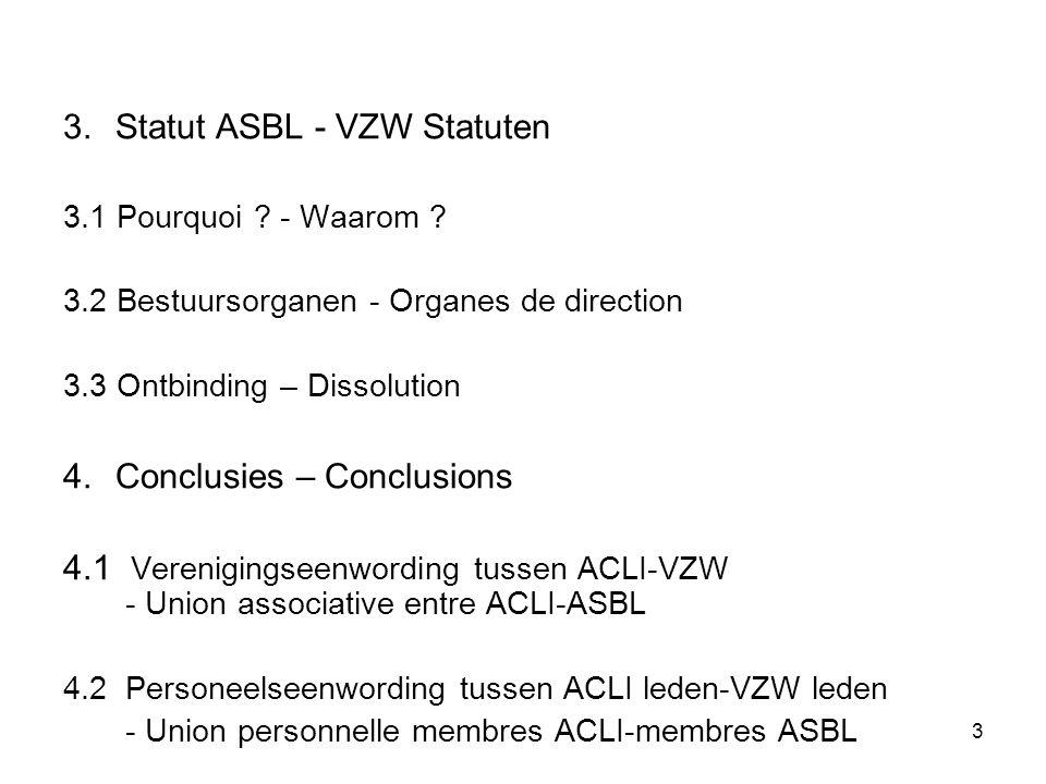 3 3.Statut ASBL - VZW Statuten 3.1 Pourquoi ? - Waarom ? 3.2 Bestuursorganen - Organes de direction 3.3 Ontbinding – Dissolution 4.Conclusies – Conclu