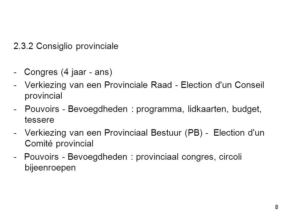 8 2.3.2 Consiglio provinciale - Congres (4 jaar - ans) -Verkiezing van een Provinciale Raad - Election d'un Conseil provincial - Pouvoirs - Bevoegdhed