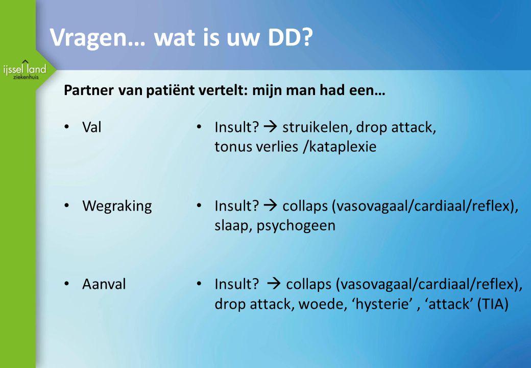 Vragen… wat is uw DD? Partner van patiënt vertelt: mijn man had een… Val Wegraking Aanval Insult?  struikelen, drop attack, tonus verlies /kataplexie