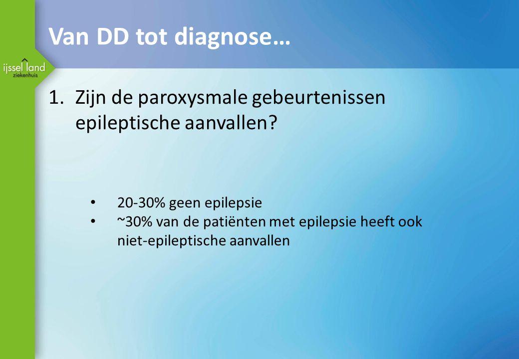 Van DD tot diagnose… 1.Zijn de paroxysmale gebeurtenissen epileptische aanvallen? 20-30% geen epilepsie ~30% van de patiënten met epilepsie heeft ook