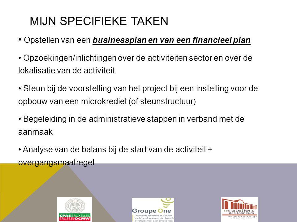 Opstellen van een businessplan en van een financieel plan Opzoekingen/inlichtingen over de activiteiten sector en over de lokalisatie van de activiteit Steun bij de voorstelling van het project bij een instelling voor de opbouw van een microkrediet (of steunstructuur) Begeleiding in de administratieve stappen in verband met de aanmaak Analyse van de balans bij de start van de activiteit + overgangsmaatregel MIJN SPECIFIEKE TAKEN