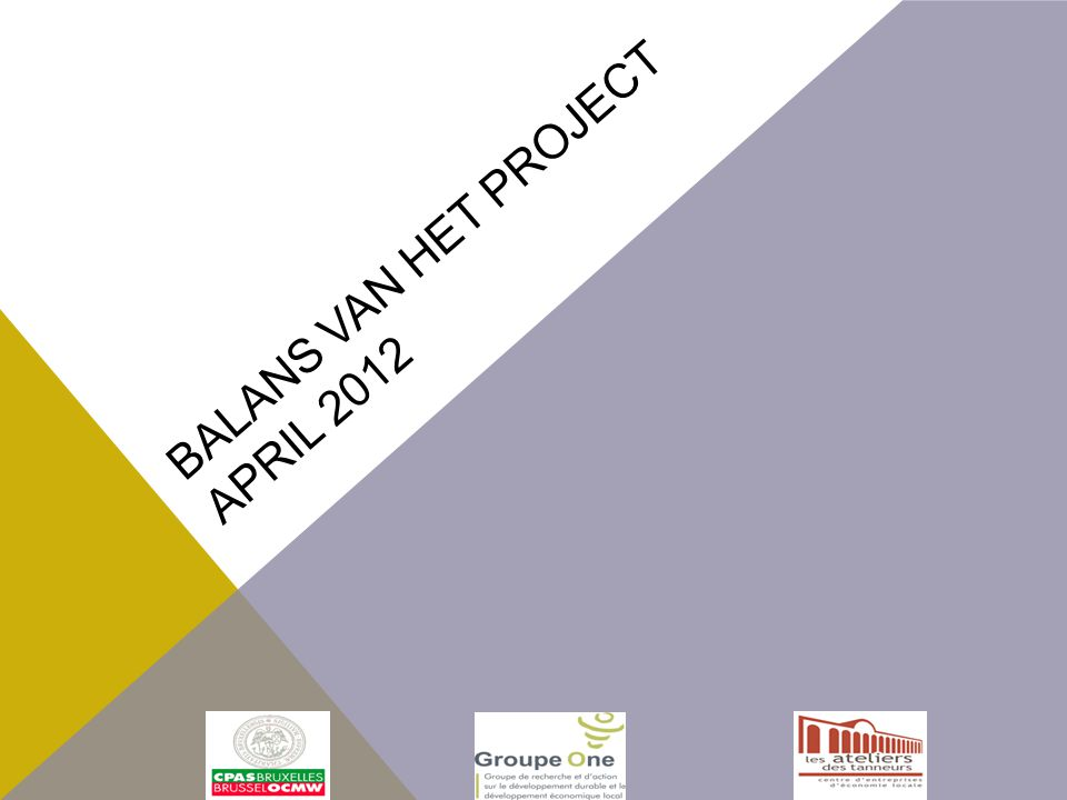BALANS VAN HET PROJECT APRIL 2012
