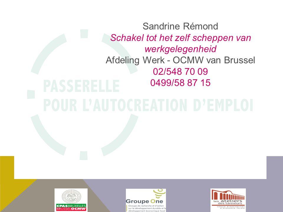 Sandrine Rémond Schakel tot het zelf scheppen van werkgelegenheid Afdeling Werk - OCMW van Brussel 02/548 70 09 0499/58 87 15
