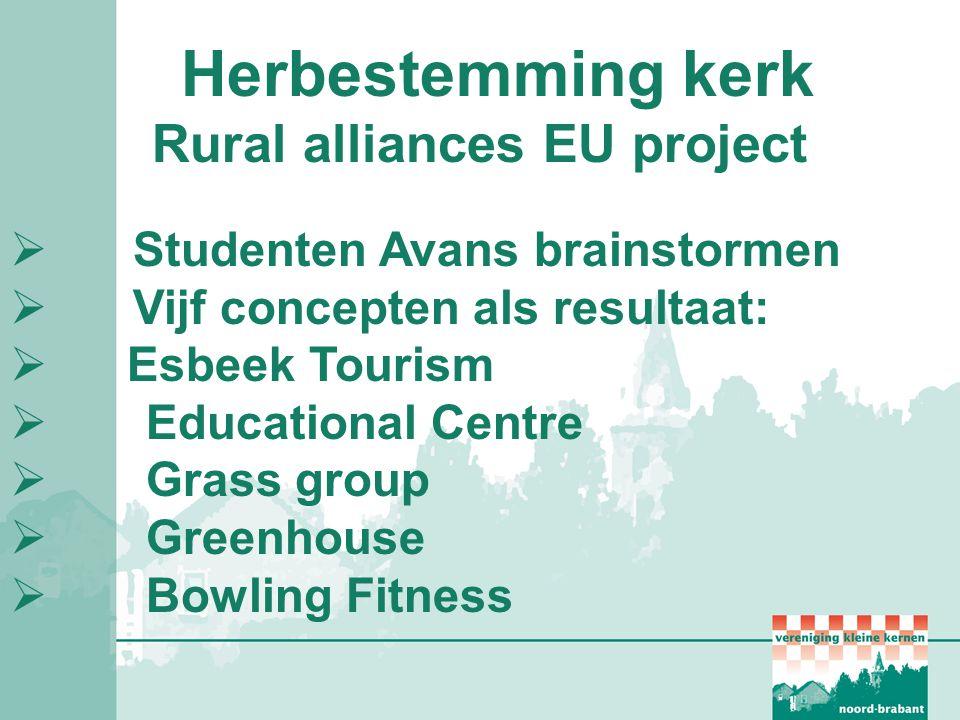 Herbestemming kerk Rural alliances EU project  Studenten Avans brainstormen  Vijf concepten als resultaat:  Esbeek Tourism  Educational Centre  G