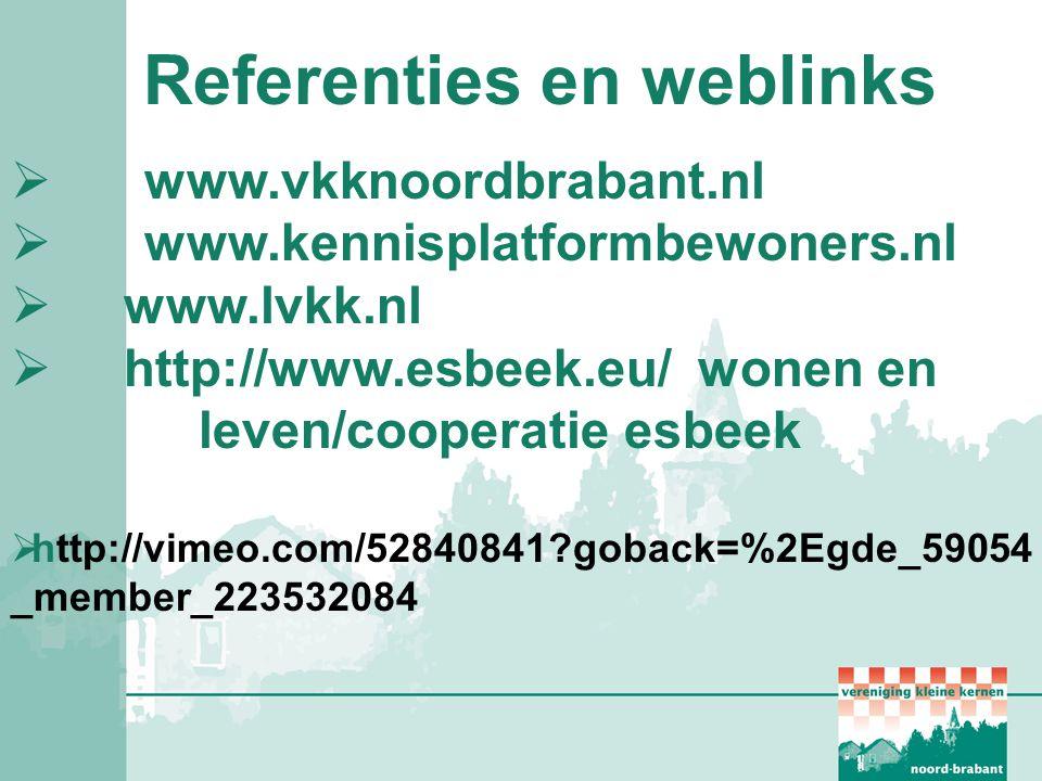 Referenties en weblinks  www.vkknoordbrabant.nl  www.kennisplatformbewoners.nl  www.lvkk.nl  http://www.esbeek.eu/ wonen en leven/cooperatie esbee
