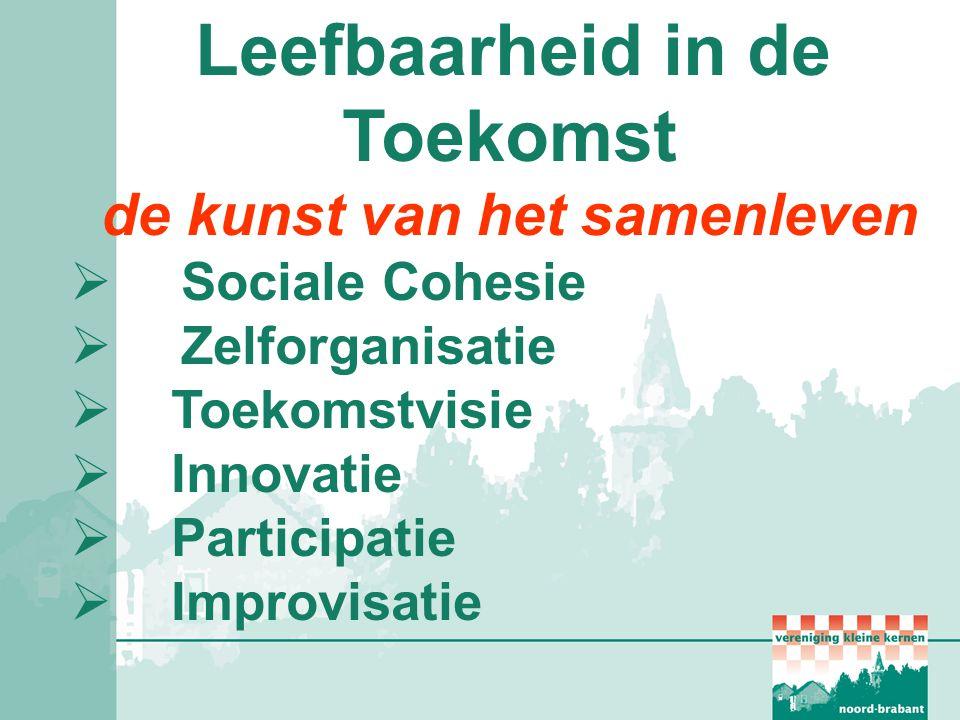 Leefbaarheid in de Toekomst de kunst van het samenleven  Sociale Cohesie  Zelforganisatie  Toekomstvisie  Innovatie  Participatie  Improvisatie