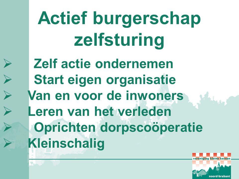 Actief burgerschap zelfsturing  Zelf actie ondernemen  Start eigen organisatie  Van en voor de inwoners  Leren van het verleden  Oprichten dorpsc