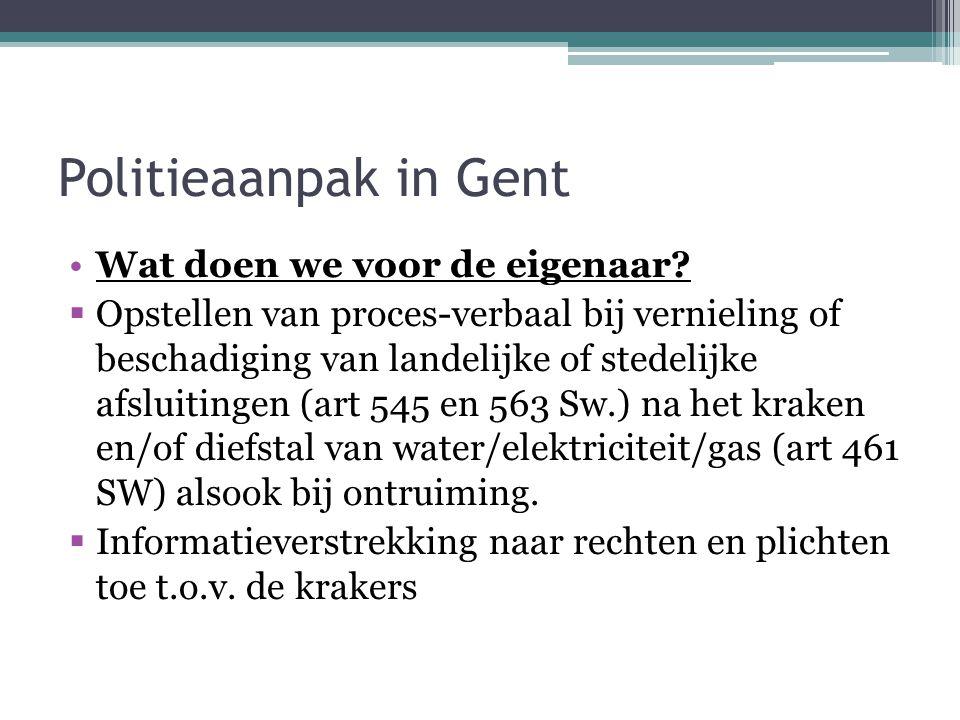 Politieaanpak in Gent Wat doen we voor de eigenaar.