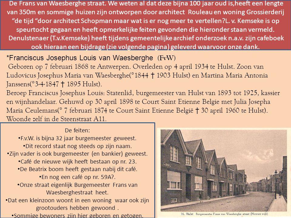 *Franciscus Josephus Louis van Waesberghe (FvW) Geboren op 7 februari 1868 te Antwerpen.