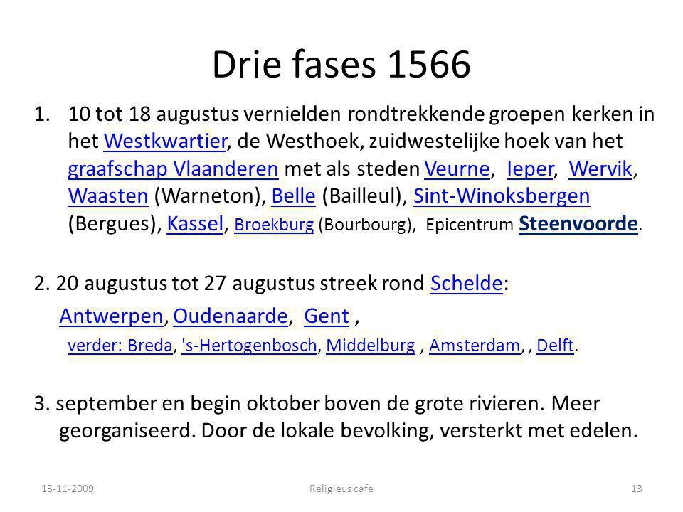 Drie fases 1566 1.10 tot 18 augustus vernielden rondtrekkende groepen kerken in het Westkwartier, de Westhoek, zuidwestelijke hoek van het graafschap Vlaanderen met als steden Veurne, Ieper, Wervik, Waasten (Warneton), Belle (Bailleul), Sint-Winoksbergen (Bergues), Kassel, Broekburg (Bourbourg), Epicentrum Steenvoorde.Westkwartier graafschap VlaanderenVeurneIeperWervik WaastenBelleSint-WinoksbergenKassel Broekburg 2.