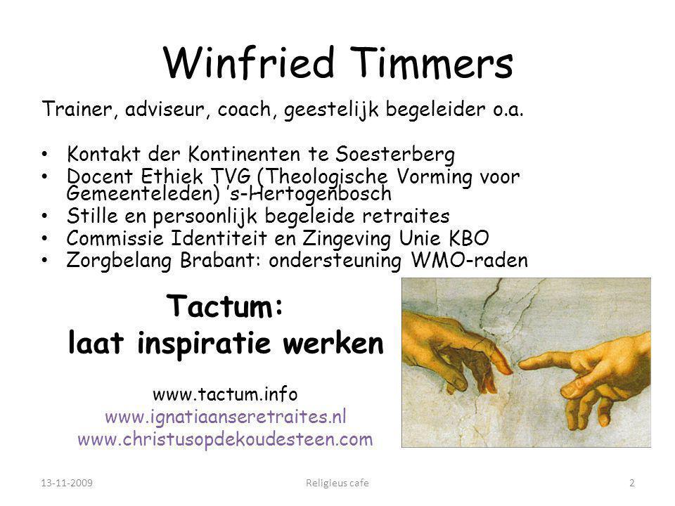 13-11-2009Religieus cafe2 Winfried Timmers Trainer, adviseur, coach, geestelijk begeleider o.a.