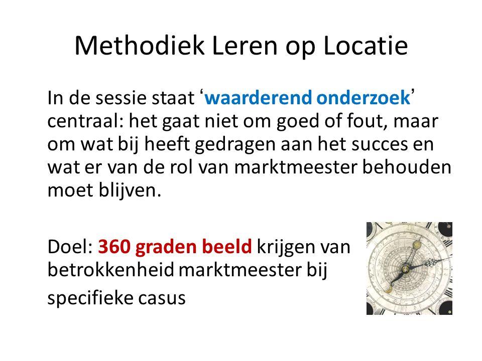 Methodiek Leren op Locatie In de sessie staat 'waarderend onderzoek' centraal: het gaat niet om goed of fout, maar om wat bij heeft gedragen aan het succes en wat er van de rol van marktmeester behouden moet blijven.