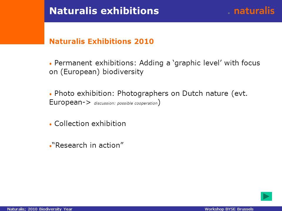 Naturalis exhibitions Naturalis Exhibitions 2010 Permanent exhibitions: Adding a 'graphic level' with focus on (European) biodiversity Photo exhibitio