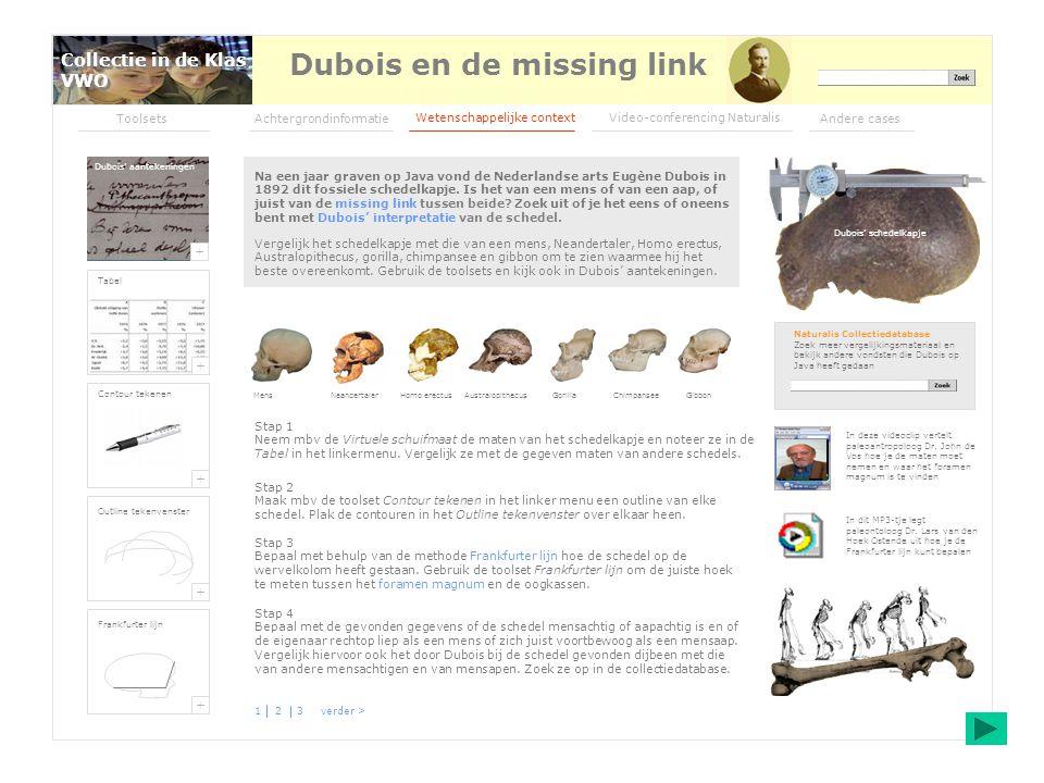 Woordenlijst Alle artikelen Educatie Sitemap Links Contact Colofon Ge logie van Nederland Na een jaar graven op Java vond de Nederlandse arts Eugène Dubois in 1892 dit fossiele schedelkapje.