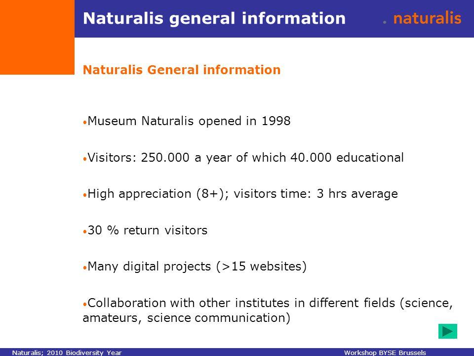 Naturalis Naturalis; 2010 Biodiversity YearWorkshop BYSE Brussels