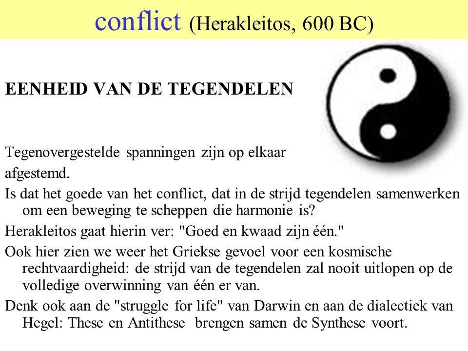 © 2006 JP van de Sande RuG Conflict (Herakleitos, 600 BC)  Alles stroomt Men kan geen twee keer in dezelfde Rivier stappen De oorlog is de vad