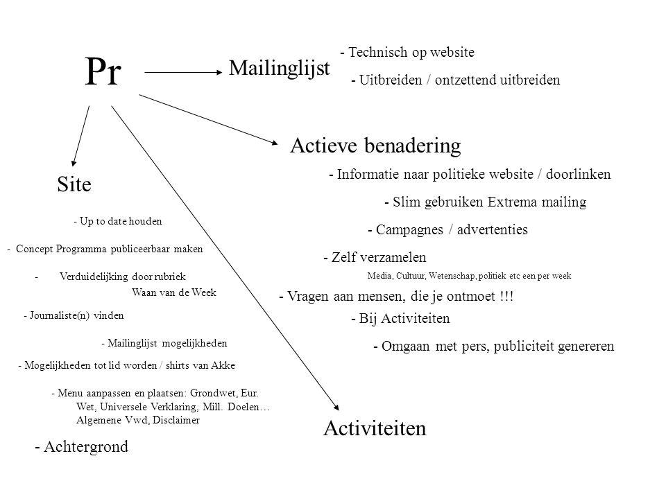 Pr Activiteiten Mailinglijst Site Actieve benadering - Up to date houden - Technisch op website - Uitbreiden / ontzettend uitbreiden - Omgaan met pers, publiciteit genereren - Bij Activiteiten - Vragen aan mensen, die je ontmoet !!.