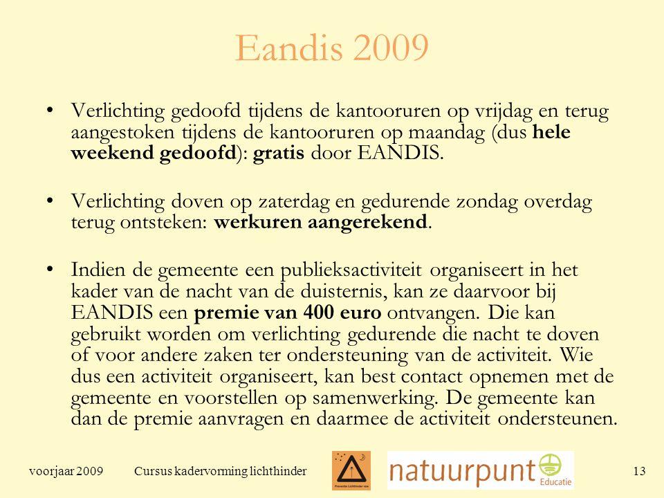 voorjaar 2009 Cursus kadervorming lichthinder 13 Eandis 2009 Verlichting gedoofd tijdens de kantooruren op vrijdag en terug aangestoken tijdens de kantooruren op maandag (dus hele weekend gedoofd): gratis door EANDIS.