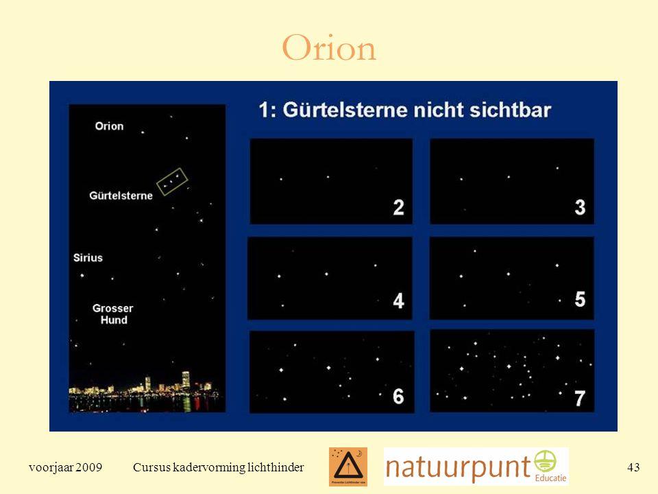 voorjaar 2009 Cursus kadervorming lichthinder 43 Orion